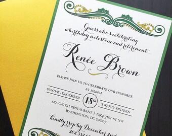 Birthday Invitation-  Adult birthday - Milestone Celebration - Retirement - Gold Invite
