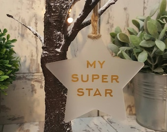 My super star, frosted star decoration, gold star, someone special, Christmas decorations, star, bauble, twine ribbon