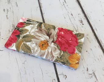 Fabric Checkbook Cover, check register holds Cash and  Checkbook two pockets