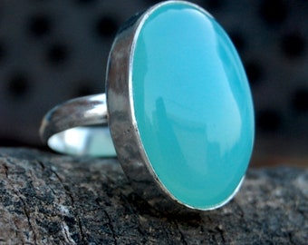 Chalcedony Ring, Oval Cab Huge Aqua 925 sterling silver ring, Aqua Chalcedony Solid silver ring Jewelry
