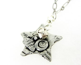 Collaged heart star pendant necklace .. artisan made silver collage pendant .. great gift for teens, women ...  AGiftofLaughter  TAGT silver