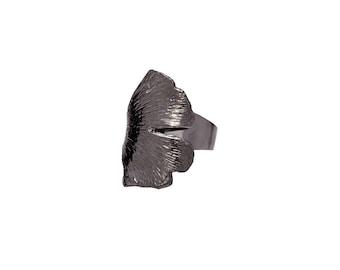 Black Rhodium Plated Gingko Ring