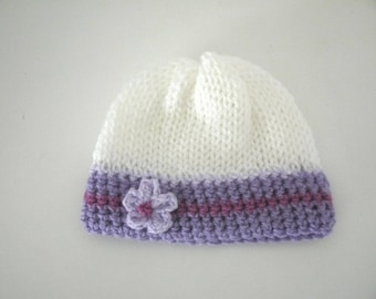 Bonnet 0/3 months baby girl white purple lilac flower