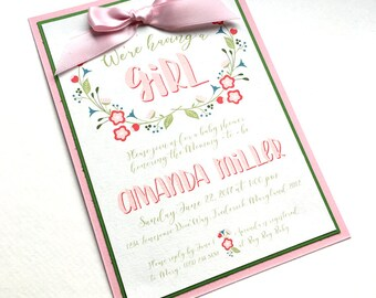 Baby Girl Floral Garden Baby Shower Invitations