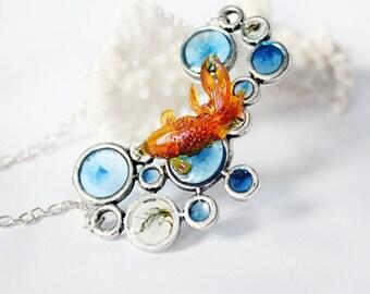 pendant necklace orange fish jewelry green moss terrarium blue water bubble necklace  Рю137
