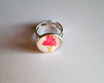 Cabochon ring adjustable ice cream pattern