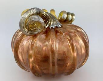 """4.5"""" Glass Pumpkin by Jonathan Winfisky- Rose Gold Glimmer Series - Aurora Rose - Hand Blown Glass"""