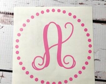 Initial Vinyl Decal Monogram Circle Dots Border One Letter Decal Single Initial Monogram Vine Font