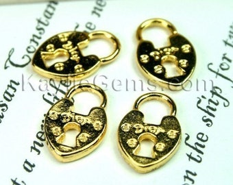 Gold French Dior Lock Charms - 6pcs