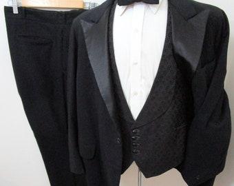 Vintage 1930s 3pc Tuxedo 46 R WEDDING suit