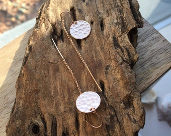 Rose Gold Threader Earrings with U-Bar and Hammered Disc Dangles