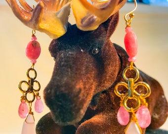 Rose Quartz Pink Sapphire Chandelier Earrings