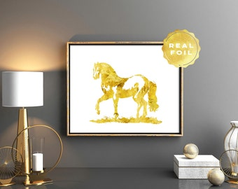 Horse Art Print 4x6 - 5x7 - Gold Foil - Equestrian Decor - Gold Leaf Faux - Horse Decor - Girly Art Print - Chic Decor