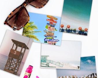 5X7 Photo Postcard Set, Beachy, set of 5, Summer Vibes,Ocean, Beach, Pier, Fireworks, Stationery gift set, Filter, Teal, Water,Summertime
