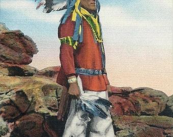 1930's Vintage Postcard Native American