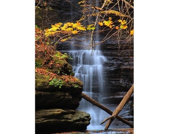 """Fine Art Color Landscape Photography of Waterfall at Matthiessen State Park in Illinois - """"Lake Falls 2"""""""