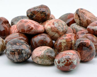 Red Silver Leaf Jasper Tumbled Gemstone - Stone of Earthen & Ethereal Energies