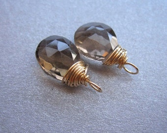 SMOKY QUARTZ wire wrapped gemstone Interchangeable Earring drops, dangles, charms, Pair of genuine faceted briolettes