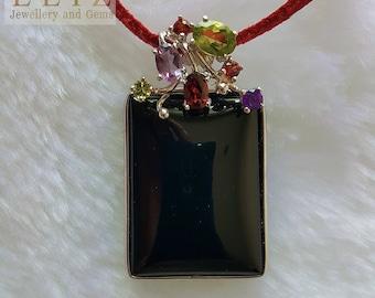 Natural Black Onyx Sterling Silver Pendant Garnet Peridot Amethyst