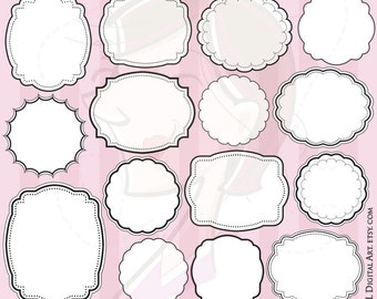 Digital Frames Clip Art - simple shapes for making Labels, Tags, Scrapbooking, with White in the Middles - FREE Commercial Use 10506