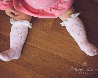 Baby Boot Socks with Lace - Toddler Boot Socks