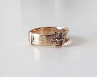 Antique engraved Victorian gold buckle mourning ring