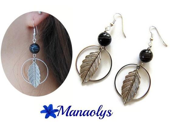 Fine, agate, silver tone feather Pearl hoop earrings
