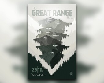 The Great Range Trail • Adirondacks, NY • New York Print • Mountain Graphic • Wall Art Print • Home Decor
