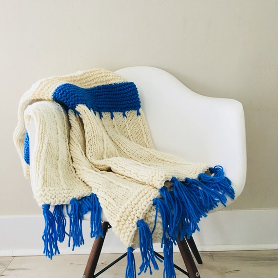 Vintage Off White Afghan Handmade Blue Striped Crocheted Ivory Blue Bedding Throw Blanket