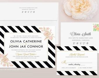 Floral Stripes Wedding Invitation & RSVP Set - Striped Wedding Invitation, Feminine Wedding Invite, Preppy Wedding Invites, Wedding Invites