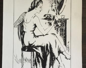 Vintage original art student illustration from 1940s