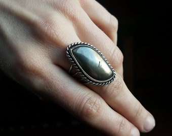 Pyrite silver ring-Size 7
