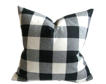 Black and Ivory Check Pillow Cover