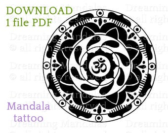 Tattoo design with om mandala, sacred buddhist symbol; bicolor tattoo art with lotus flower.