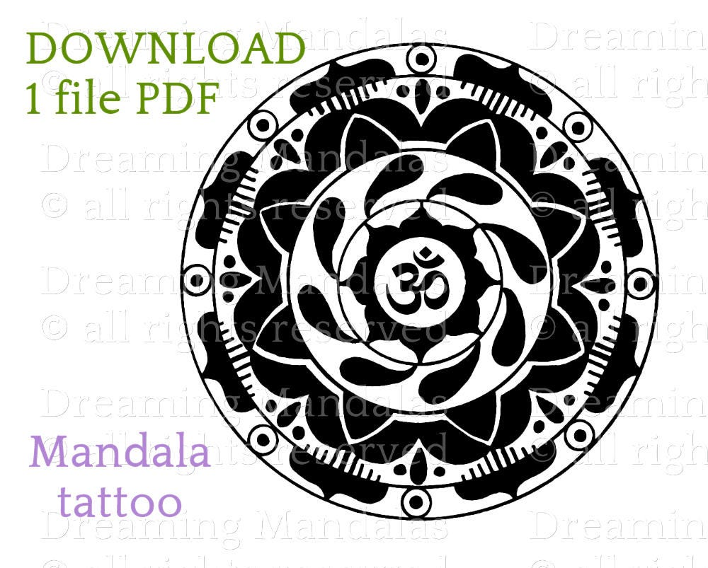 Tattoo design with om mandala sacred buddhist symbol bicolor zoom biocorpaavc Images
