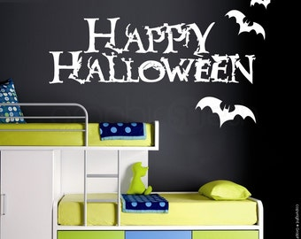 Wall decals HAPPY HALLOWEEN SIGN Removable vinyl lettering interior decor