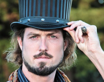 """Leather Circus Steampunk Top Hat """"Baron""""  in Black - Steampunk Hat - Circus Hat - Steampunk Tophat - Circus Couture - Steampunk Costume"""