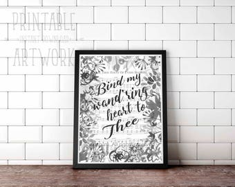 Downloadable Prints | Bind My Wandering Heart to Thee | Come Thou Fount | Hymn Art | Watercolor Sheet Music Floral | Christian Printable