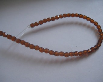 7 Inch Strand of 4mm Madeira Topaz Fire Polished Czech Beads