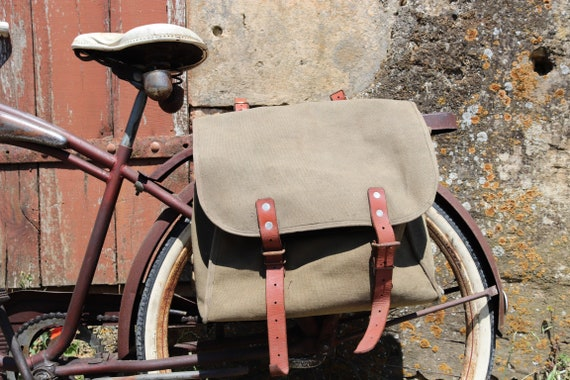 RESERVED Vintage 1950s 50s khaki green canvas leather bike bicycle panniers bags military cycling motorcycle motorbike