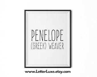 Penelope Name Meaning Art - Printable Baby Shower Gift - Nursery Printable Art - Digital Print - Nursery Decor - Typography Wall Decor