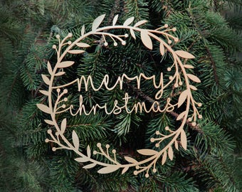 Merry Christmas Wreath Decoration Personalised Door Sign Wall Modern Scandinavian Minimal Laser Cut Acrylic Holiday Ornament Banner Xmas UK