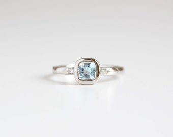 Aquamarine and diamond white gold engagement ring, unique dainty engagement ring, Aquamarine ring, March Birthstone, gift for her