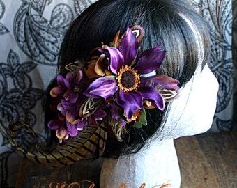 Caramelized Plum Hair Fascinator Clip - Tribal, Fusion, Belly Dance, Steampunk, Renaissance Faire, Purple, Men's Hat Adornment, Chocolate