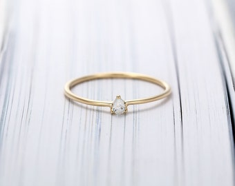Minimalist engagement ring 14K gold Simple Pear shaped engagement ring Dainty Diamond Wedding women Bridal Stacking Promise Anniversary gift