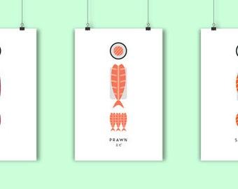 A3 Sushi Art Prints