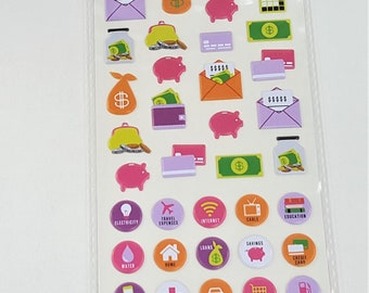 Budget Planner Puffy Stickers Agenda 52 by Paper Studio 63 pc