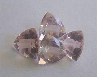 10 Pieces natural rose quartz faceted trillion shape gemstone