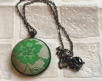 Fabric button pendant | Necklace | Button pendant | Button necklace | covered button | green lace fabric  | silver fabric Ready to ship