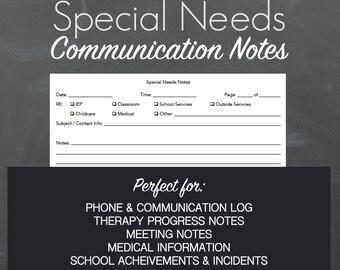 Special Needs Notes Instant Download Printable PDF, Autism Binder, IEP Binder, Children's Care Binder, Special Needs Binder, School Notes,